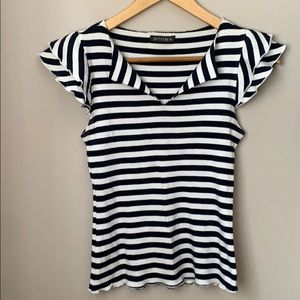 Nautical Striped Frilly Shoulder Tee Shirt Size XS
